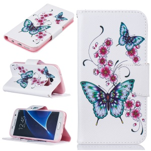 Pattern Printing Magnetic Leather Stand Cover for Samsung Galaxy S7 SM-G930 - Vivid Butterflies