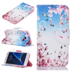 Pattern Printing Wallet Leather Mobile Phone Case for Samsung Galaxy S7 SM-G930 - Peach Blossom