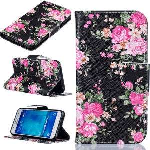 Pattern Printing Leather Wallet Case for Samsung Galaxy J5 SM-J500F - Vivid Flowers