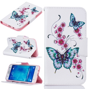 Pattern Printing Wallet Leather Protection Case for Samsung Galaxy J5 SM-J500F - Butterflies and Flowers