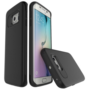 Brushed PC + TPU Two-in-one Back Case for Samsung Galaxy S6 edge G925 - Black