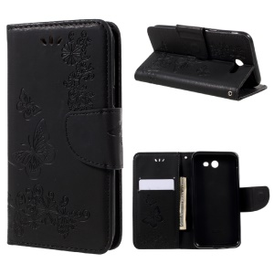 Imprinted Butterfly Flowers Wallet Leather Stand Case for Samsung Galaxy J3 Emerge/ J3 (2017)/ J3 Prime - Black