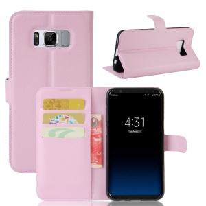 Lychee Skin Magnetic Leather Stand Cover for Samsung Galaxy S8 - Pink