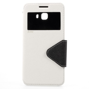 ROAR KOREA Diary View Contrast Color Leather Case for Samsung Galaxy C9 Pro - White