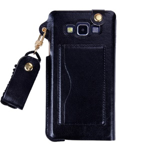 Detachable Neck Lanyard PU Leather Cover for Samsung Galaxy A7 A700F with Card Slot - Black