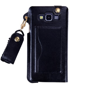Touchable Window Leather Vertical Pouch with Lanyard for Samsung Galaxy A8 SM-A800F - Black
