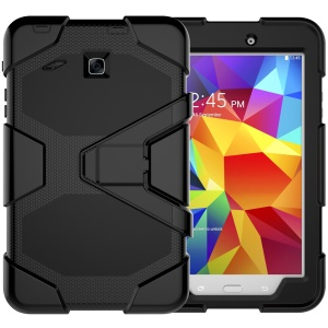 Military Duty PC Silicone Protection Case with Kickstand for Samsung Galaxy Tab E 8.0 T375 T377 - Black