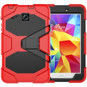 Military Duty PC Silicone Protection Shell with Kickstand for Samsung Galaxy Tab E 8.0 T375 T377 - Red