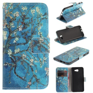 Printing Pattern Wallet Leather Shell for Samsung Galaxy J5 Prime/On5 2016 - Almond Tree in Blossom