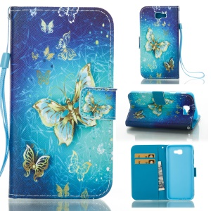 Patterned PU Leather Wallet Case Stand for Samsung Galaxy J5 Prime/On5 2016 - Golden Butterflies