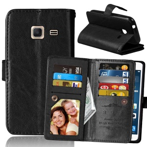 For Samsung Galaxy J1 mini Wallet 9 Card Slots Crazy Horse Leather Stand Case - Black