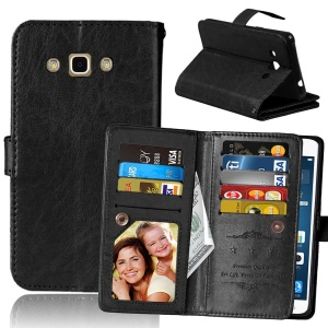 9 Card Slots Crazy Horse Leather Wallet Magnetic Phone Shell for Samsung Galaxy J3 Pro - Black