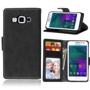 Vintage Matte Leather Wallet Stand Case for Samsung Galaxy A3 SM-A300F - Black