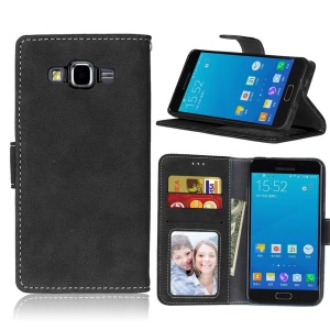 Retro Matte Leather Wallet Case for Samsung Galaxy A5 SM-A500F - Black