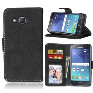 Vintage Style Matte Leather Wallet Stand Phone Case for Samsung Galaxy J2 SM-J200 - Black