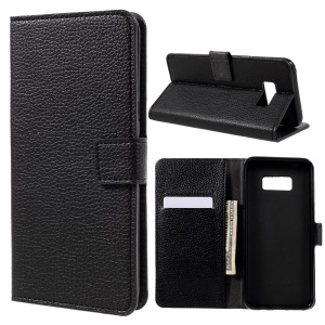 Litchi Texture Leather Stand Wallet Mobile Case for Samsung Galaxy S8 Plus - Black