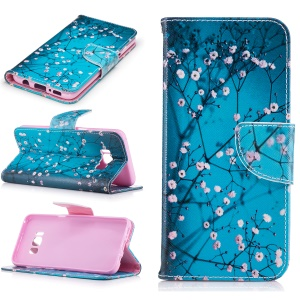 Printing Pattern Leather Wallet Cover for Samsung Galaxy S8 - Blooming Flower