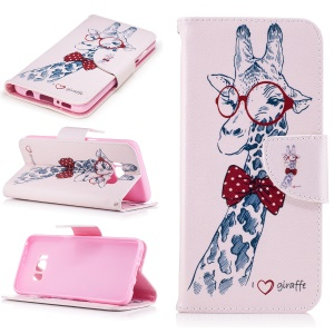 Wallet Patterned Leather Mobile Case for Samsung Galaxy S8 - Giraffe with Red Glasses