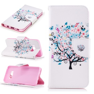 Pattern Printing Wallet Stand Leather Cover for Samsung Galaxy S8 - Flower Tree