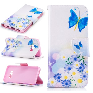 Wallet Stand Patterned Leather Case for Samsung Galaxy S8 - Blue Butterfly and Daisies