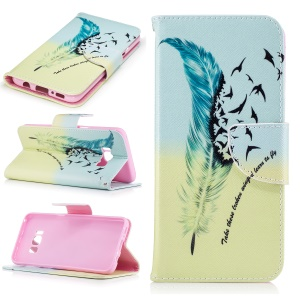 Patterned Leather Wallet Case Shell for Samsung Galaxy S8 - Feather Pattern