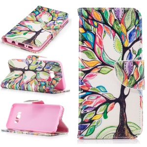 Patterned Leather Cell Phone Case for Samsung Galaxy S8 - Colored Tree