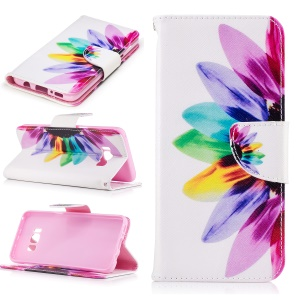 Patterned Leather Cover Card Holder for Samsung Galaxy S8 - Colorful Flower