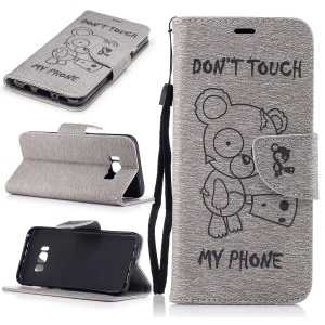 Imprinted Bear Leather Wallet Flip Case with Lanyard for Samsung Galaxy S8 - Grey