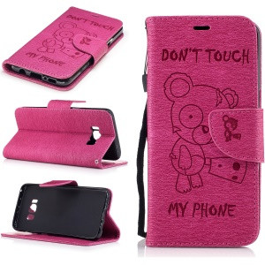 Imprinted Bear Leather Wallet Mobile Phone Shell with Strap for Samsung Galaxy S8 - Rose