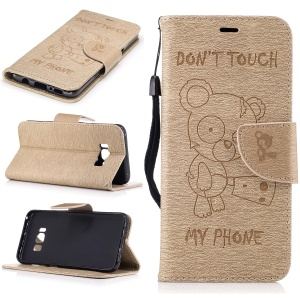 Imprinted Bear Leather Wallet Folio Phone Cover for Samsung Galaxy S8 - Khaki