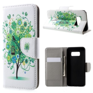 For Samsung Galaxy S8 Patterned Wallet Stand Leather Case - Green Tree and Bird