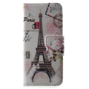 Patterned Wallet Leather Case Stand for Samsung Galaxy S8 - Postcard Style Eiffel Tower