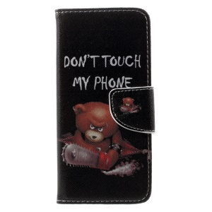 Patterned Wallet Leather Case Accessory for Samsung Galaxy S8 - Warning Words and Cool Bear