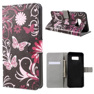 For Samsung Galaxy S8 Plus Patterned Wallet Stand Leather Case - Floral Butterfly