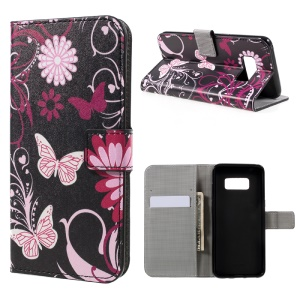 For Samsung Galaxy S8 Patterned PU Leather Wallet Casewith Stand - Floral Butterfly