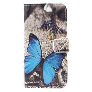 For Samsung Galaxy S8 Stand Wallet Leather Case Accessory - Blue Butterfly