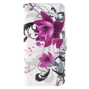 Patterned Leather Wallet Phone Case for Samsung Galaxy S8 - Purple Flowers