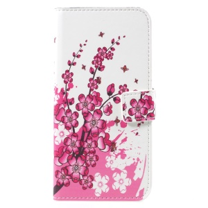 Patterned Stand Wallet Leather Casing for Samsung Galaxy S8 -  Plum Blossom