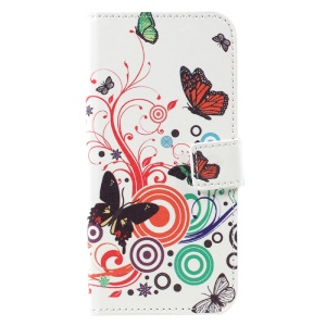 Stand Wallet Leather Protective Case for Samsung Galaxy S8 - Butterflies and Circles