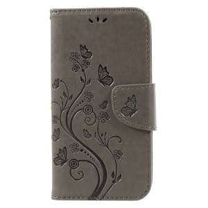 Imprinted Flora Butterflies Wallet Leather Cover Stand for Samsung Galaxy S8 - Grey