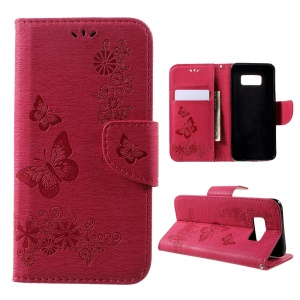 Imprinted Butterfly Flowers Stand Wallet Leather Cover for Samsung Galaxy S8 - Rose