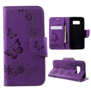 Imprinted Butterfly Flowers Leather Casing Case Wallet for Samsung Galaxy S8 - Purple