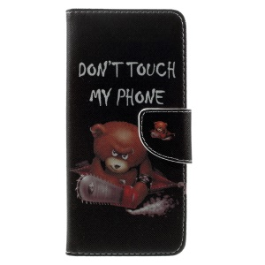 Patterned Wallet Leather Phone Case for Samsung Galaxy S8 Plus - Warning Words and Cool Bear