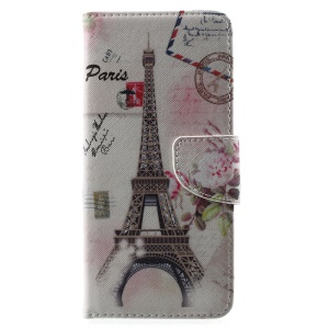 Patterned PU Leather Wallet Cover for Samsung Galaxy S8 Plus - Postcard Style Eiffel Tower