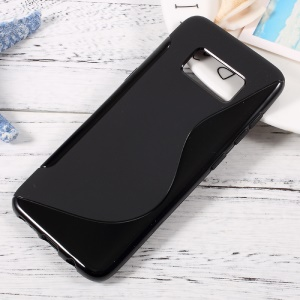 For Samsung Galaxy S8 S-Shape Soft TPU Case Phone Cover - Black