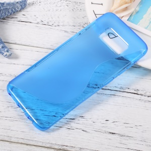S Shape Flexible TPU Soft Case Cover for Samsung Galaxy S8 - Blue