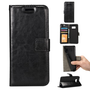 Crazy Horse Leather Wallet Phone Case for Samsung Galaxy S8 Plus - Black