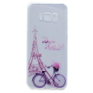 Patterned TPU Phone Case for Samsung Galaxy S8 Plus - Eiffel Tower and Bike