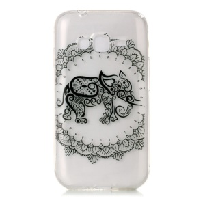 Printing Pattern TPU Phone Case for Samsung Galaxy J1 mini prime - Unique Elephant and Flower
