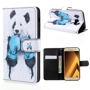Pattern Printing Wallet Leather Stand Case for Samsung Galaxy A5 (2017) A520 - Panda Pattern